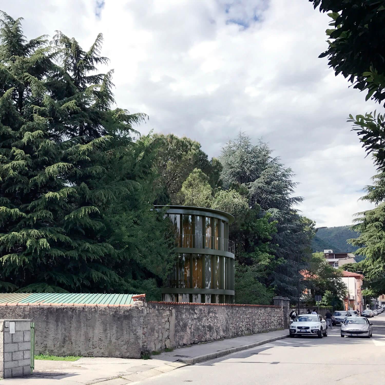 Edificio per uffici e abitazioni nel parco
